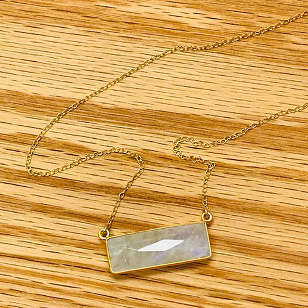 Iridescent Moonstone Rectangle 24K Gold Vermeil Necklace