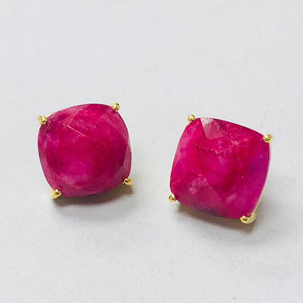 Pink Tourmaline Square Post Earrings