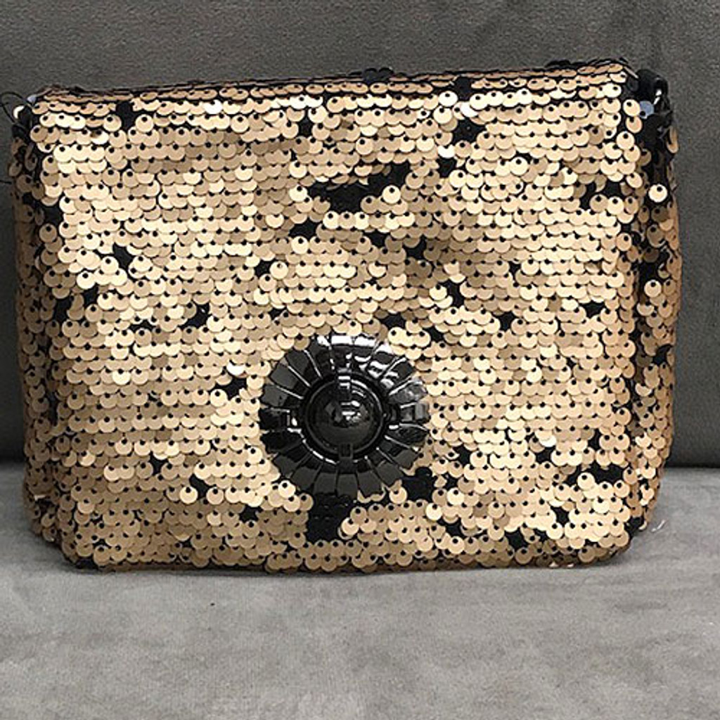 "Sondra Roberts Reversible Sequin ""Never Too Much"" Bag Gold"