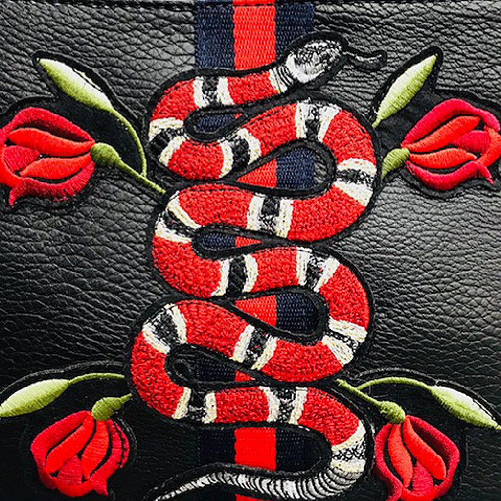 Sondra Roberts Embroidered Snake Motif Clutch/Cross Body