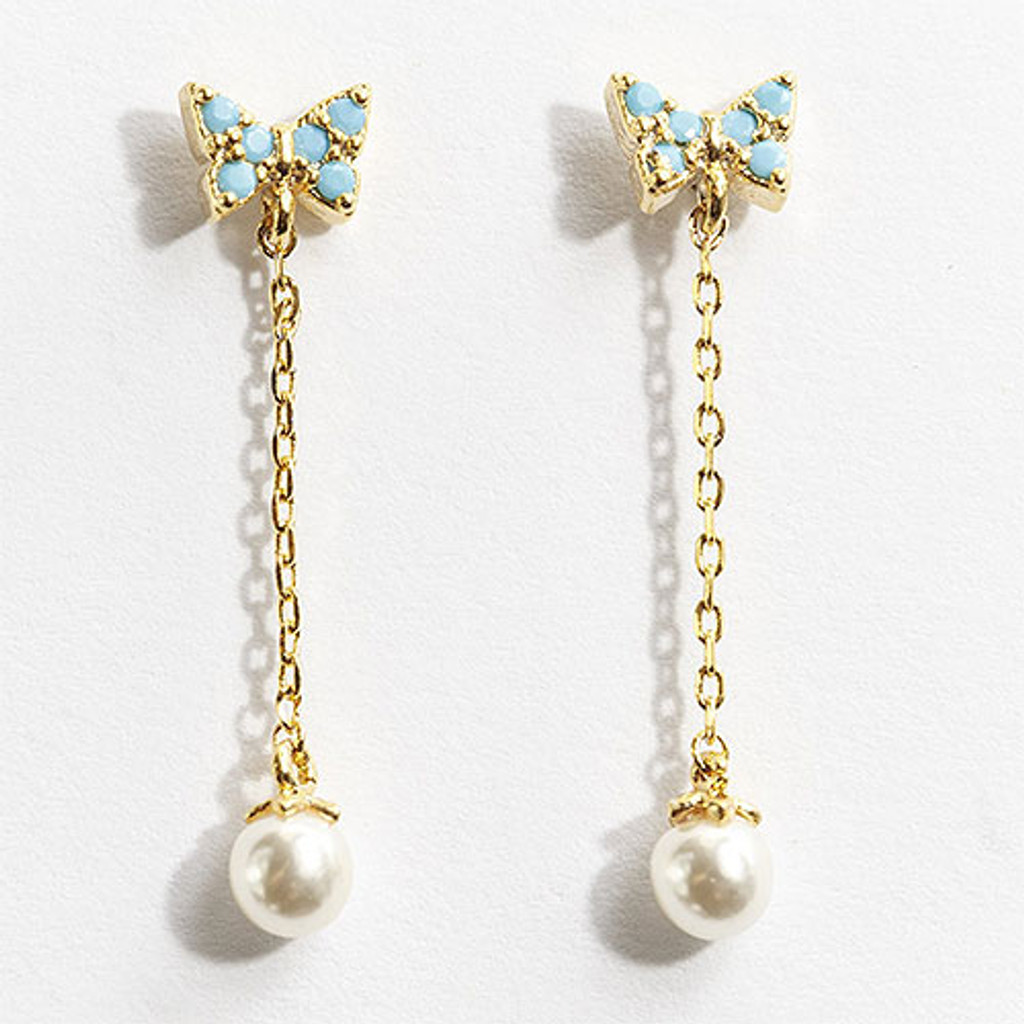 Tiny Butterfly with Pearl Dangle in Gold