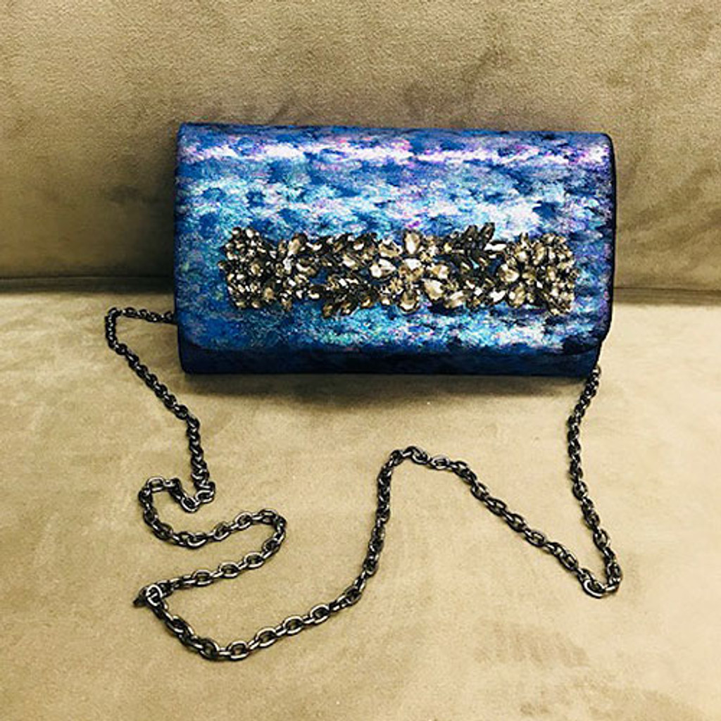 Sondra Roberts Iridescent Crushed Velvet Jeweled Bar Clutch-Navy