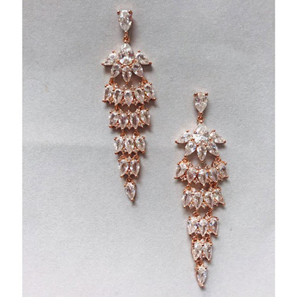Cubic Zirconia in Rose Gold Earring