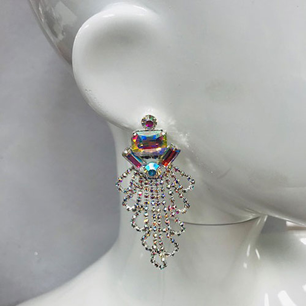 The Madison Aurora Borealis Draped Crystal Earring in Silver
