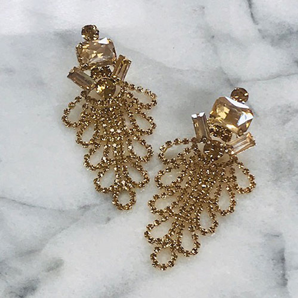 The Madison Light Colorado Gold Draped Crystal Earring