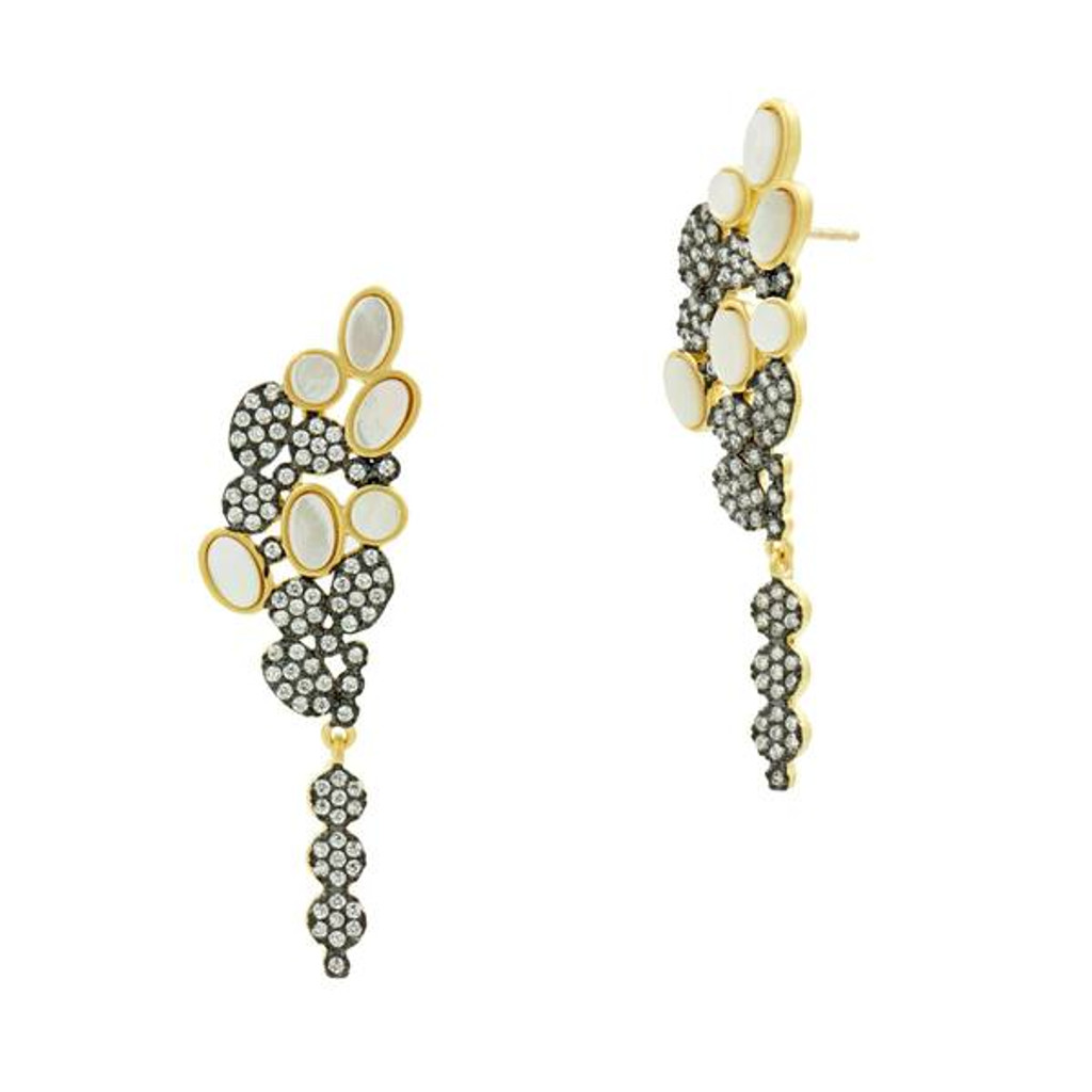 Freida Rothman Imperial Mother-of Pearl & Pave Cluster Earrings