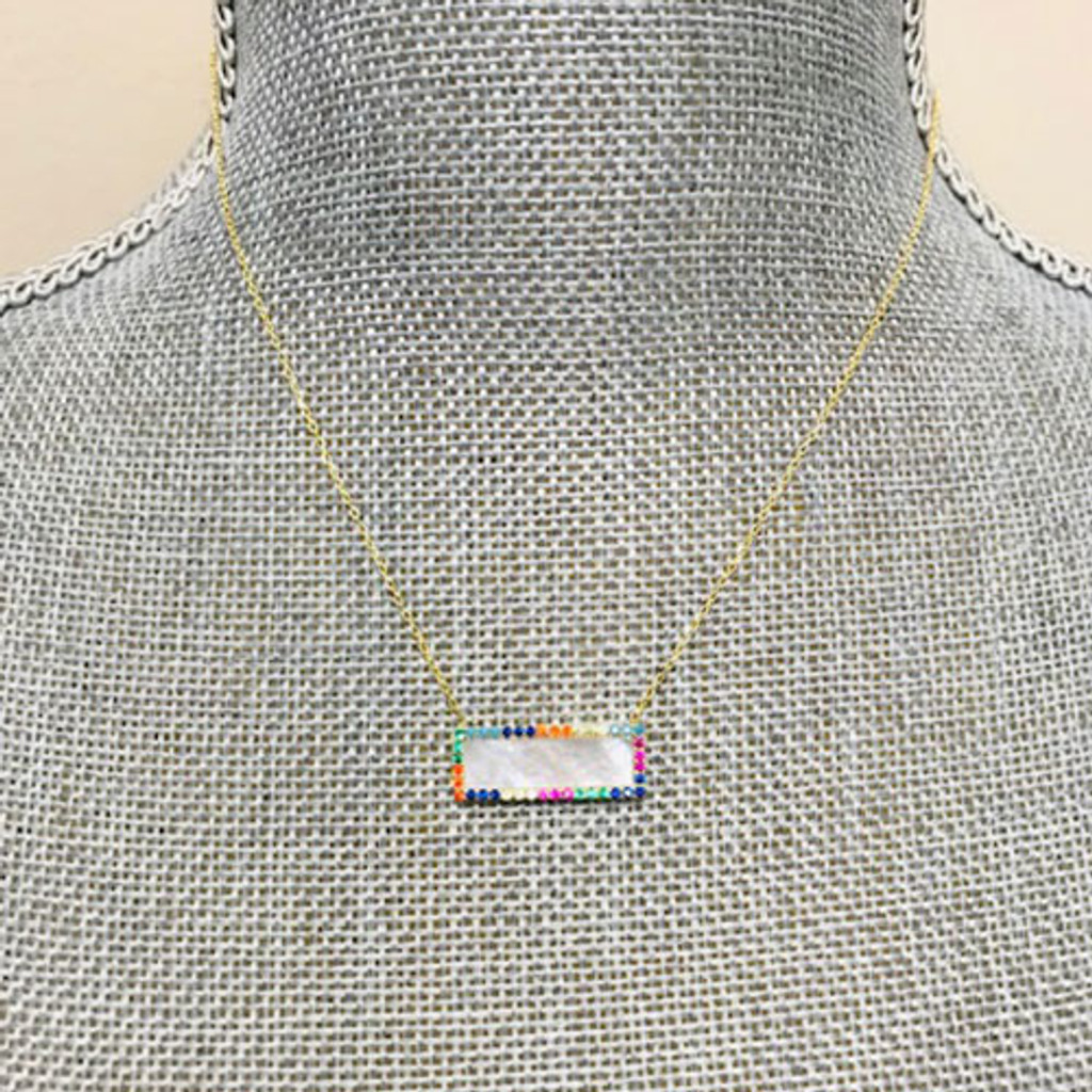 Rainbow Cubic Zirconia & Mother-of-Pearl Rectangle Necklace
