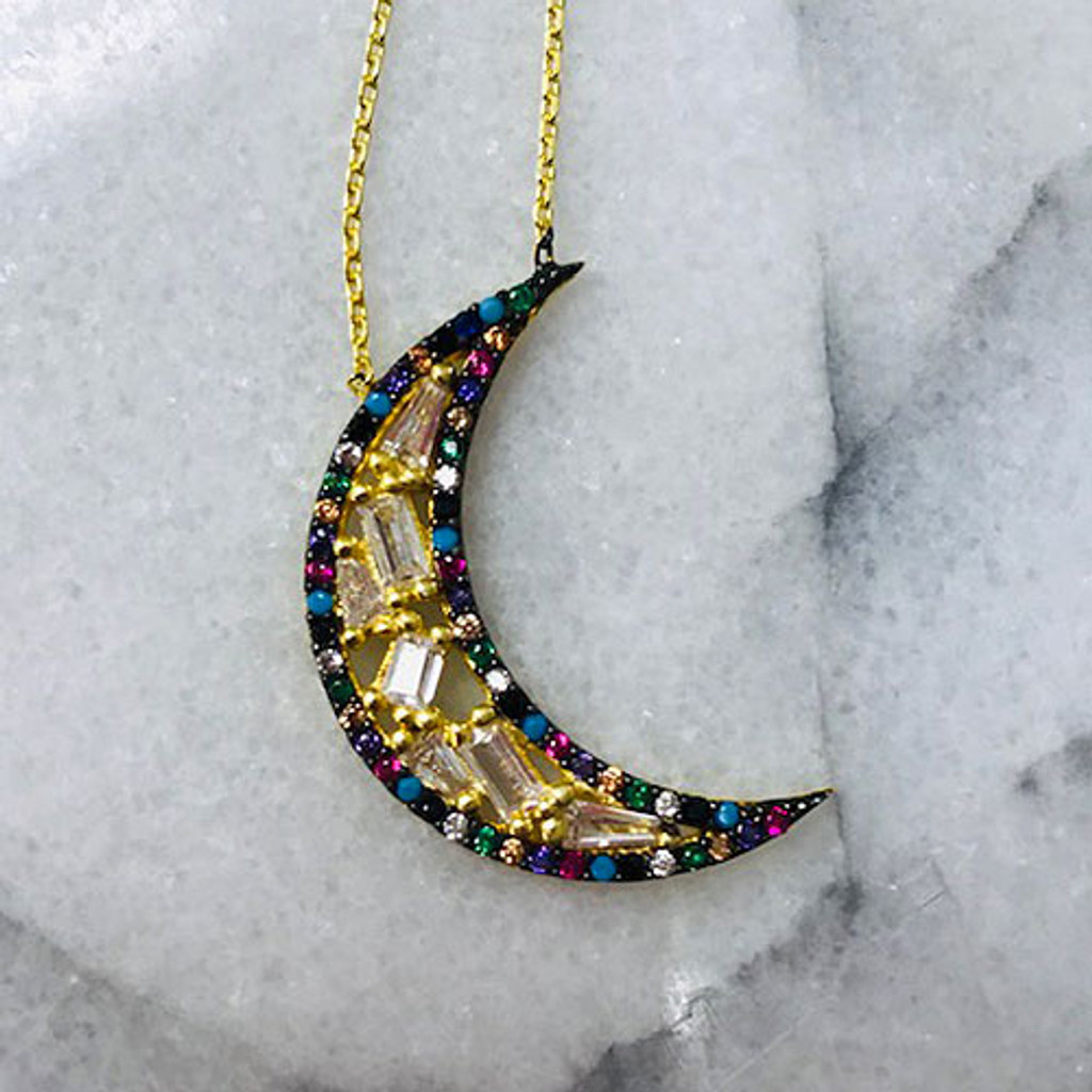Crescent Moon with Clear & Rainbow Cubic Zirconia