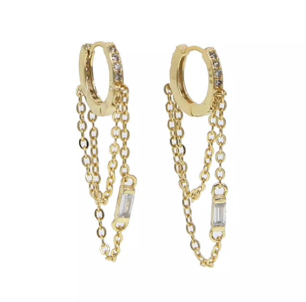 Cubic Zirconia Gold Ear Hugger Hoops with Looped Chains