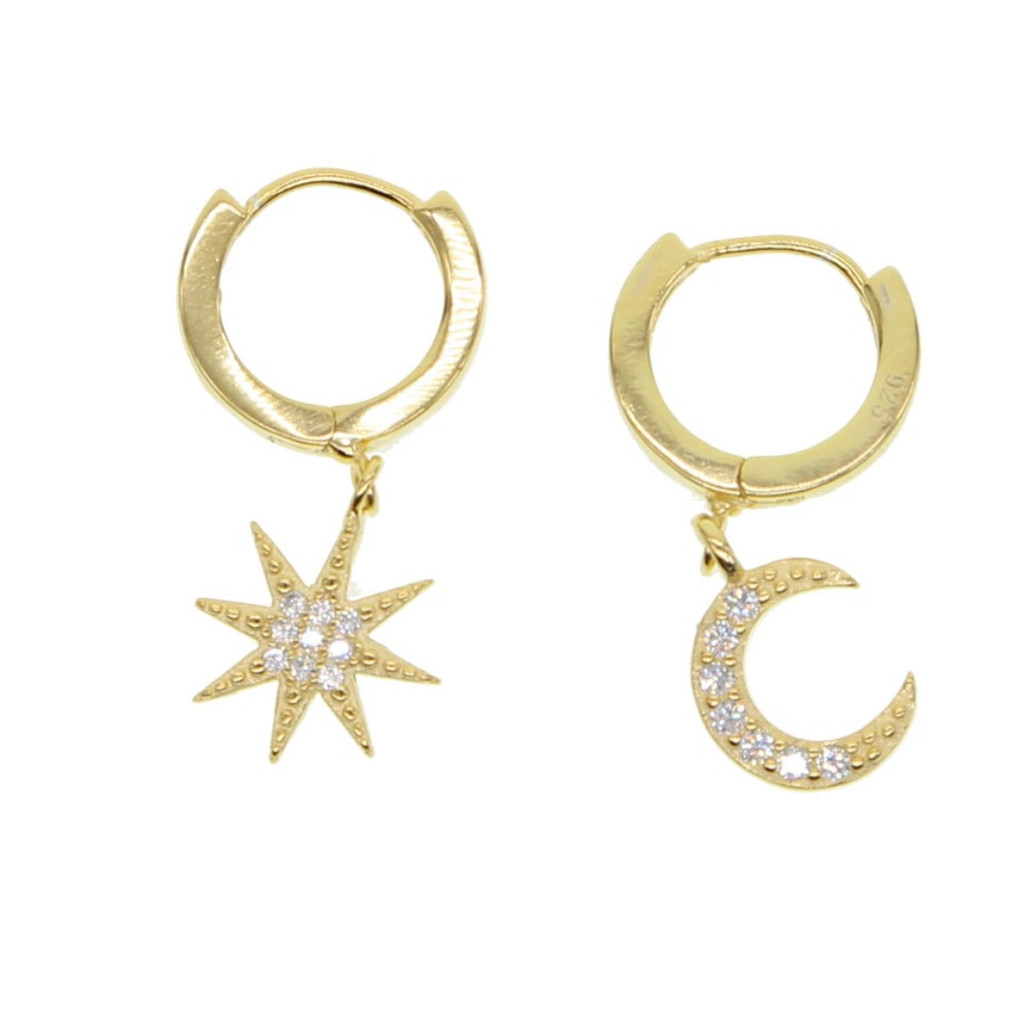 Gold Vermeil Star & Moon ear Hugger Earrings