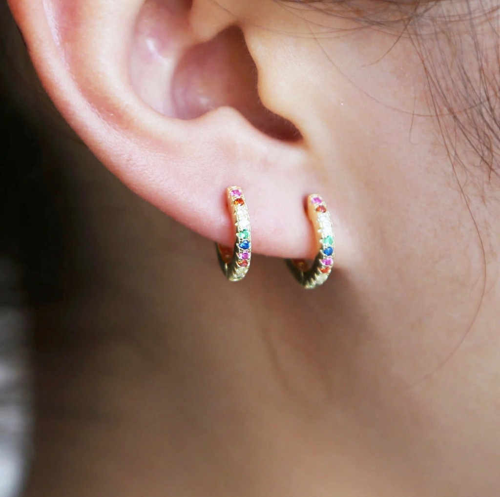 Rainbow Cubic Zirconia Ear Hugger Hoops