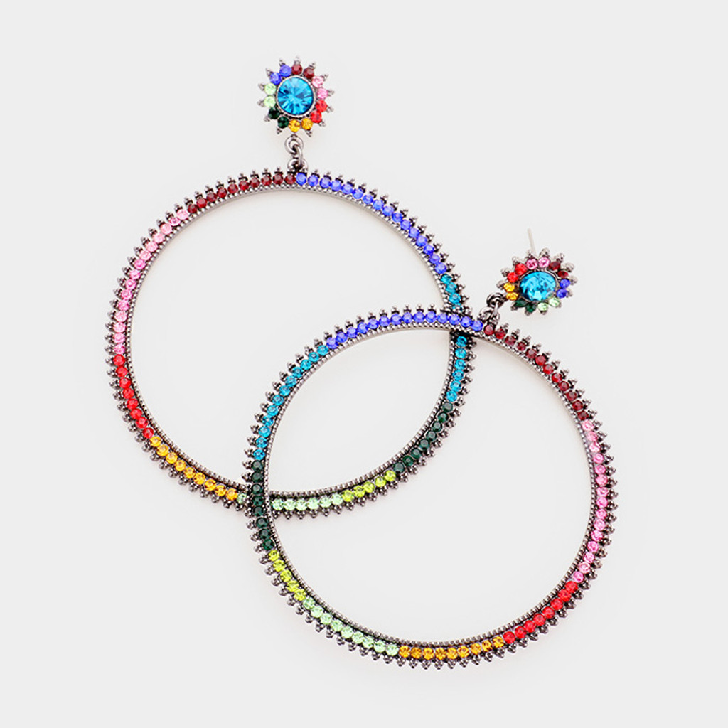 Hematite Multi-colored Hoop Earrings