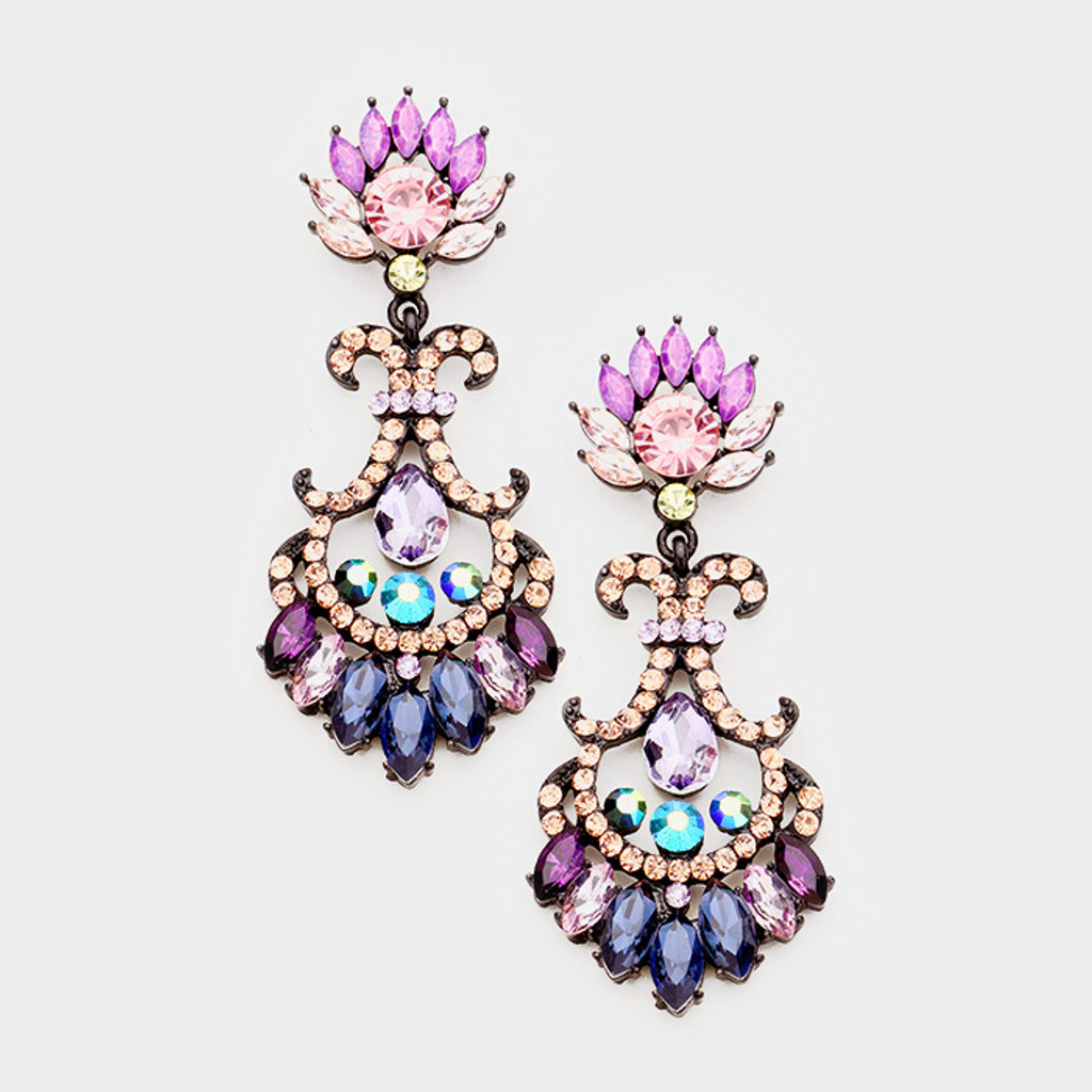 Multi-Colored Lotus Flower Drop Earring