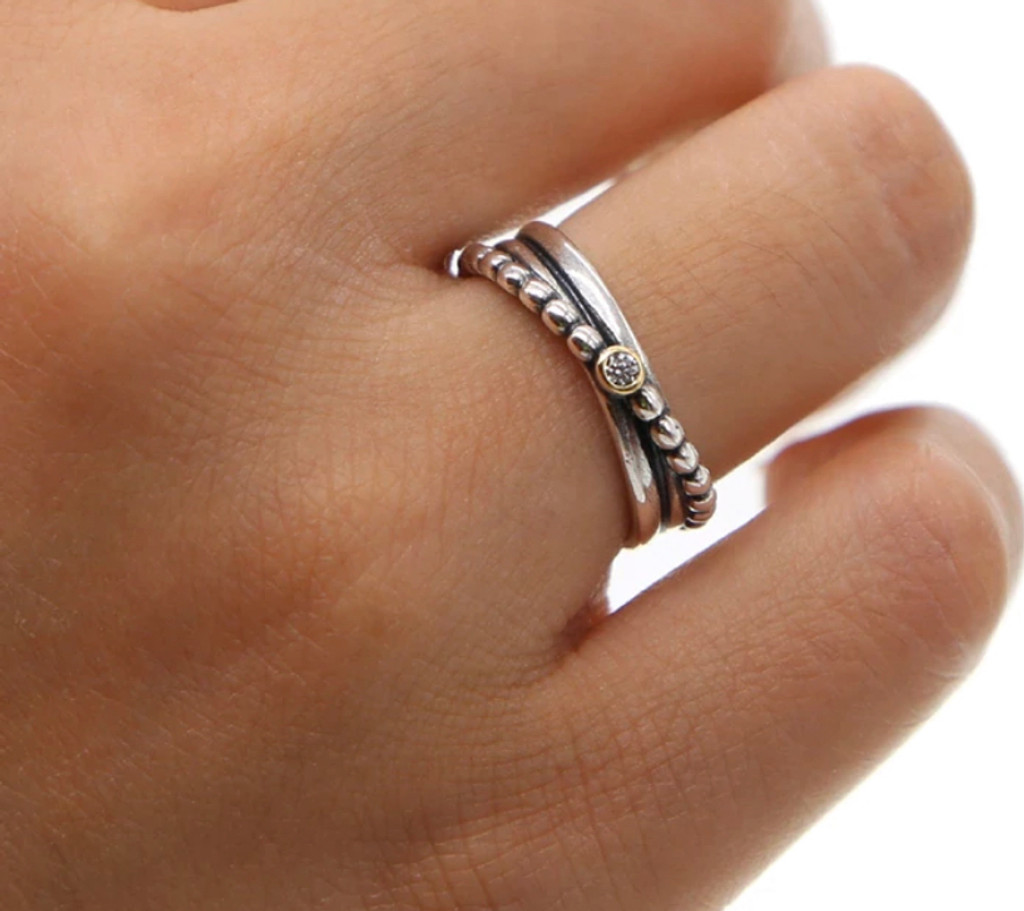Silver Triple Band with Cubic Zirconia Ring