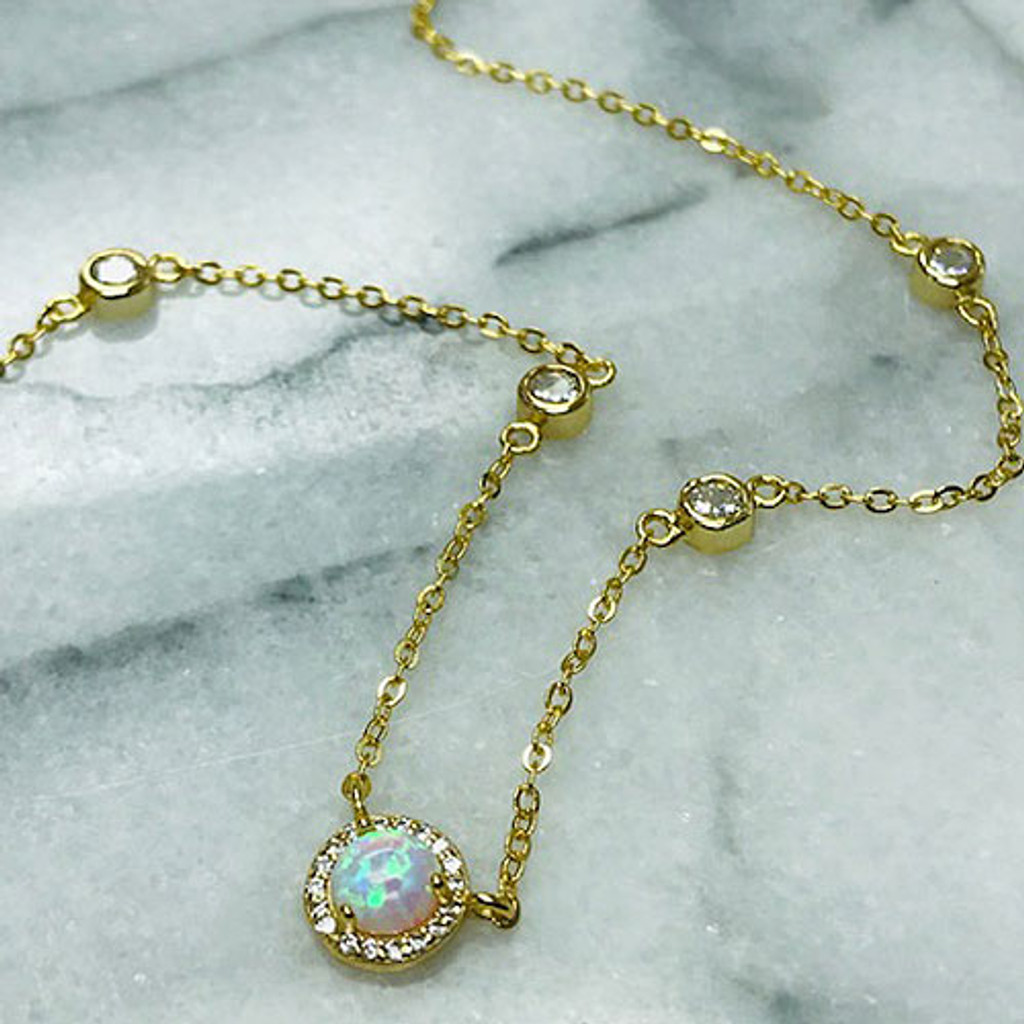 Cubic Zirconia Halo Man-Made Fire Opal Necklace