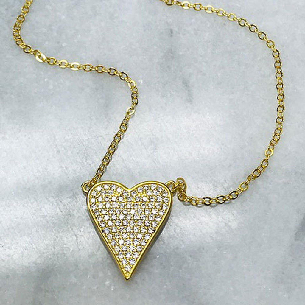 Our Elongated Cubic Zirconia Pave Heart Necklace