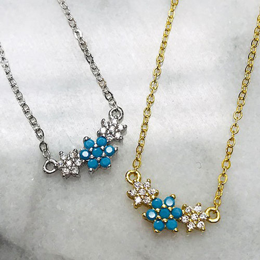 Dainty Cubic Zirconia and Blue Opal Trio Necklace