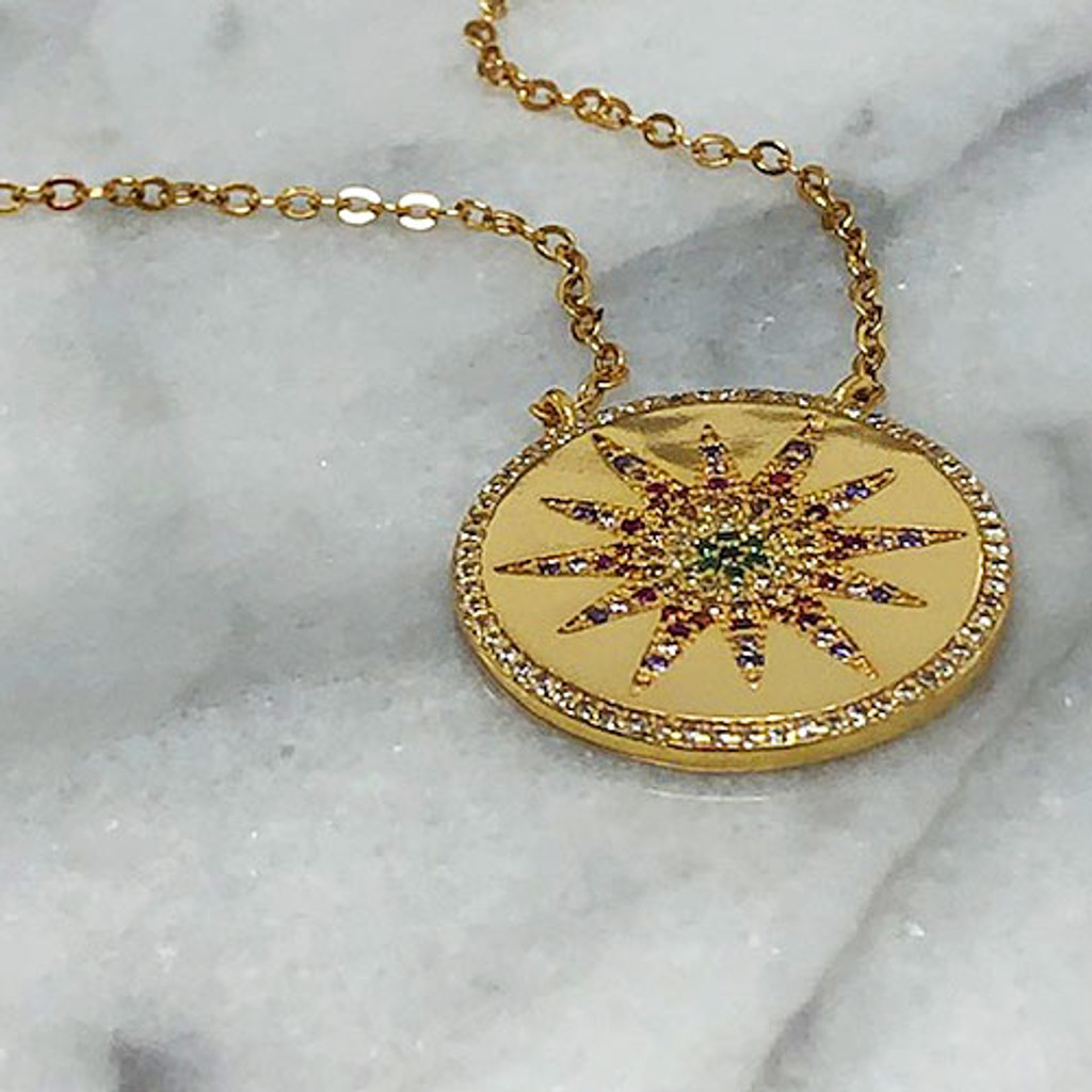 Our Multi-Colored Starburst Medallion Necklace
