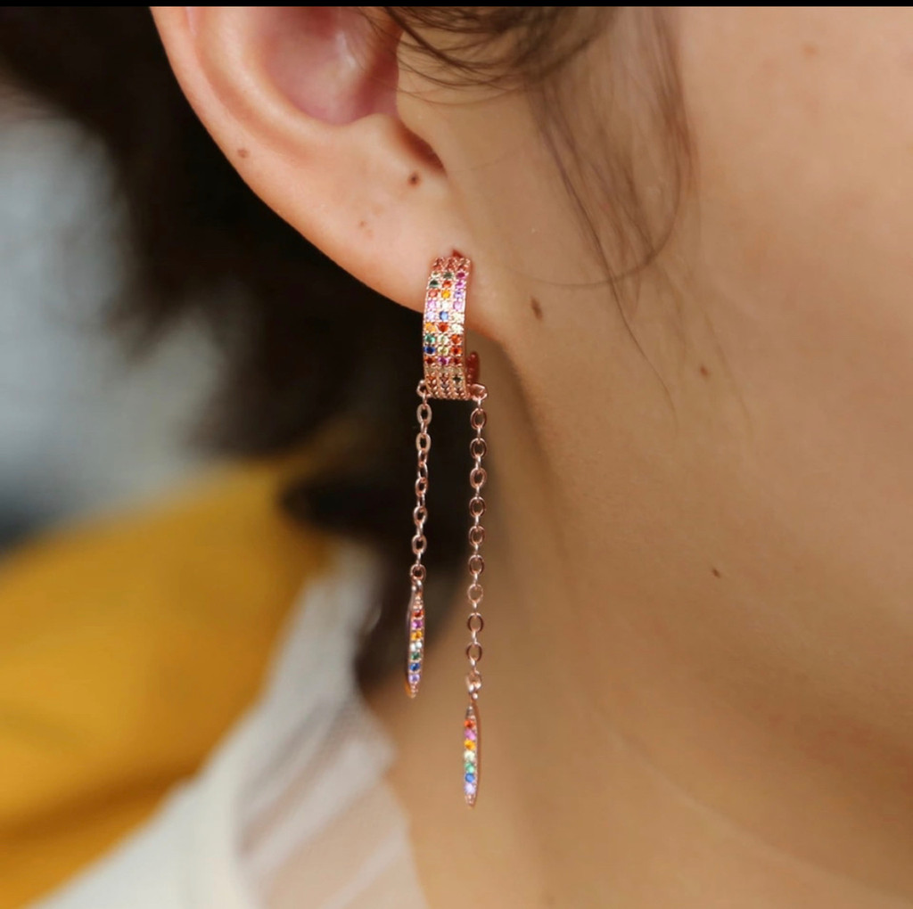 Multi-Colored Cubic Zirconia Hoop with Dangles in Rose Gold