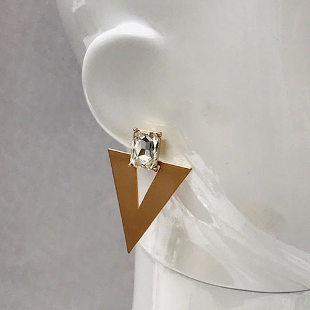 Clear Emerald With Triangle Earring