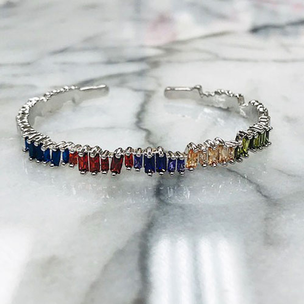 Multi-Colored Baguette Slim Cuff Bracelet