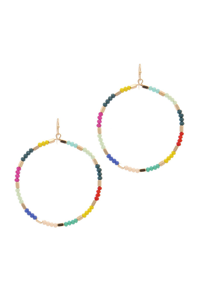 Multi Front Facing Seed Bead Hoop Earrings
