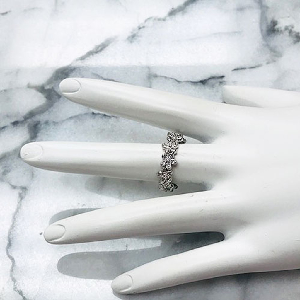Sterling Silver Cubic Zirconia Flower Band Ring