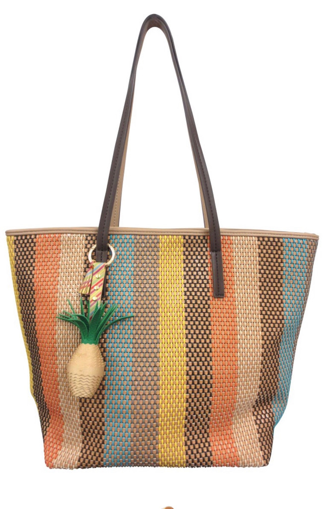Sondra Roberts Striped Woven Pineapple Tote