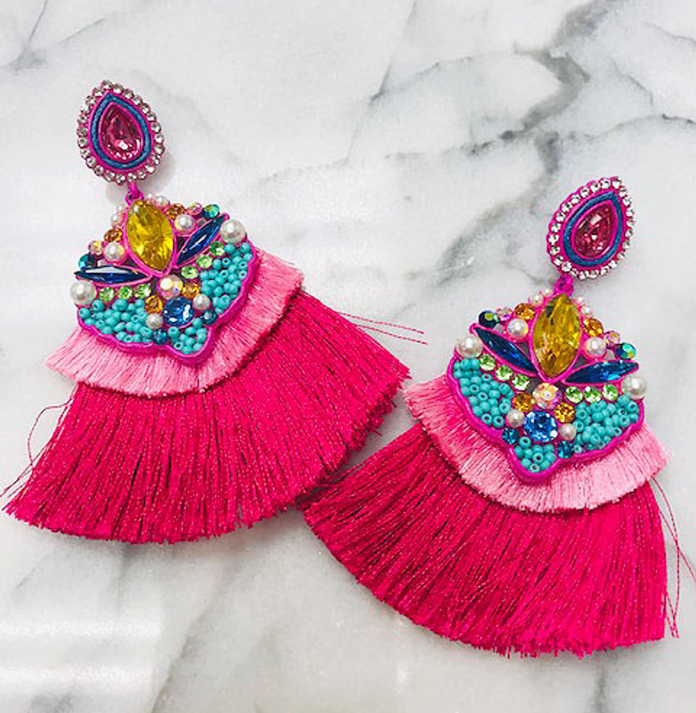 Ibiza Embellished Statement Tassel Earring