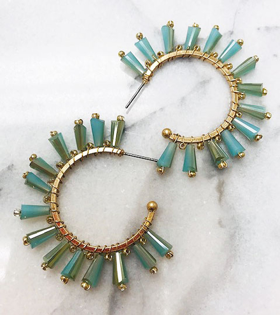 Open Gold Hoop Earrings with Mint Beads