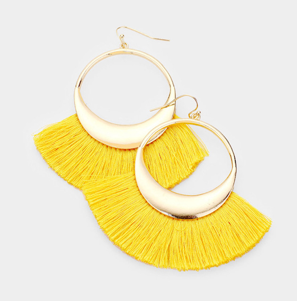 Fun Fan Tassel Dangle Earrings