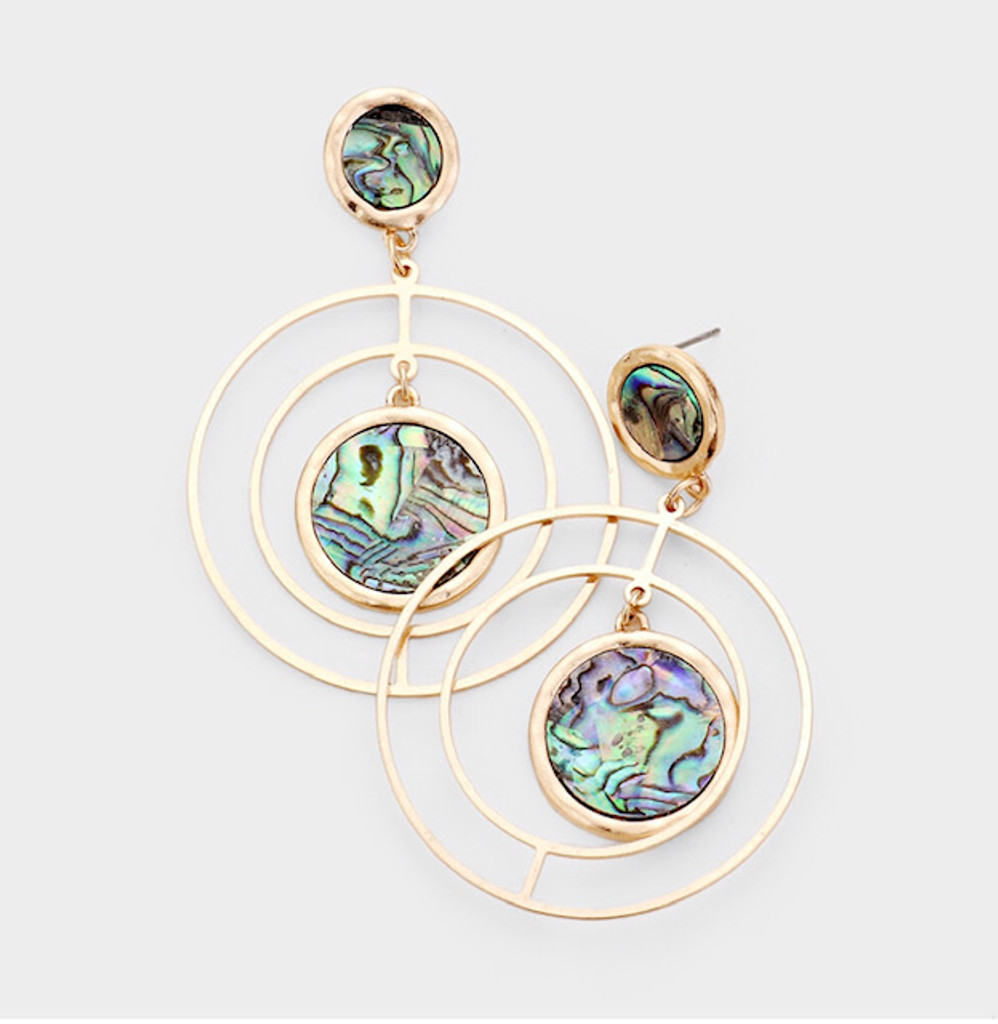 Abalone Shell with Concentric Hoops Earrings