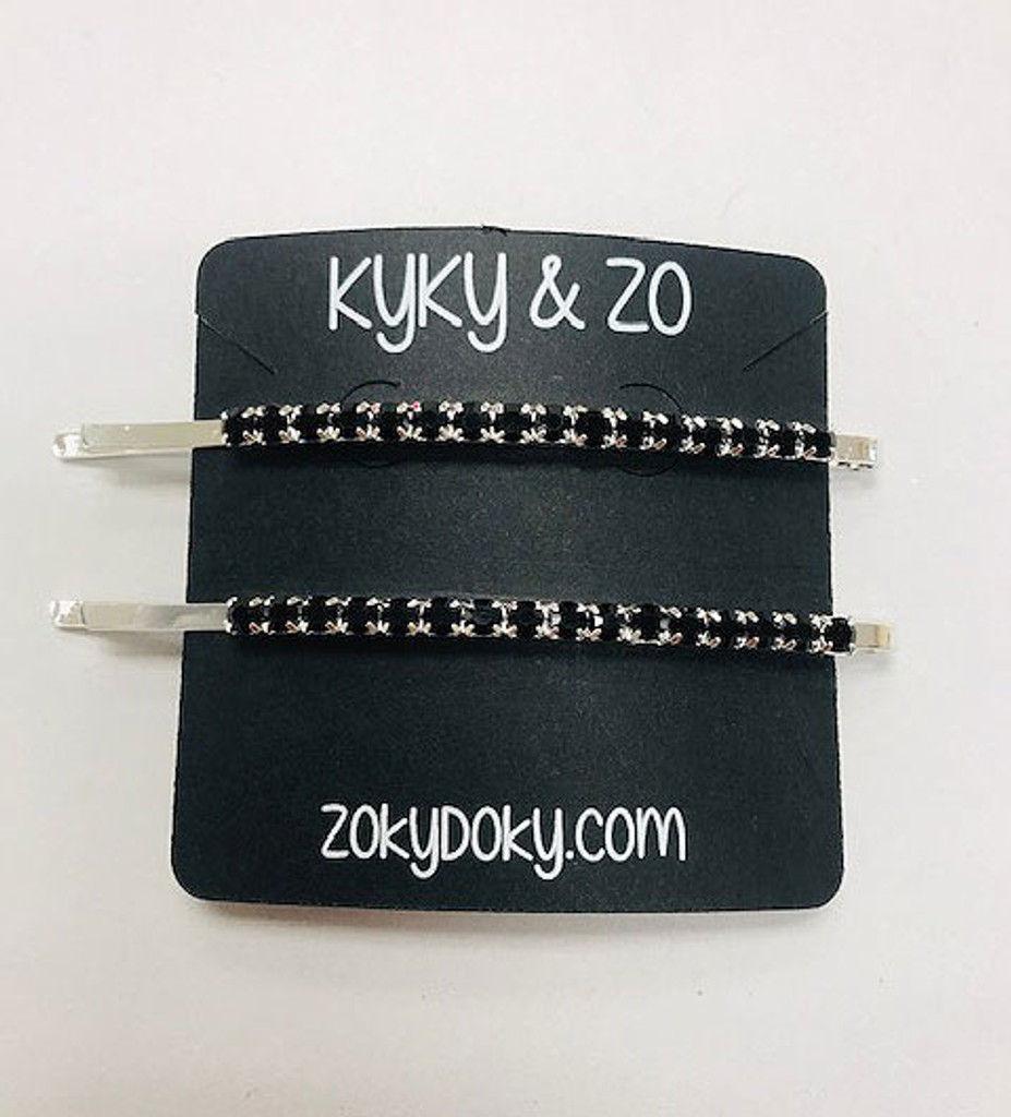 Set of Two Pavé Crystal Silver Bobby Pins