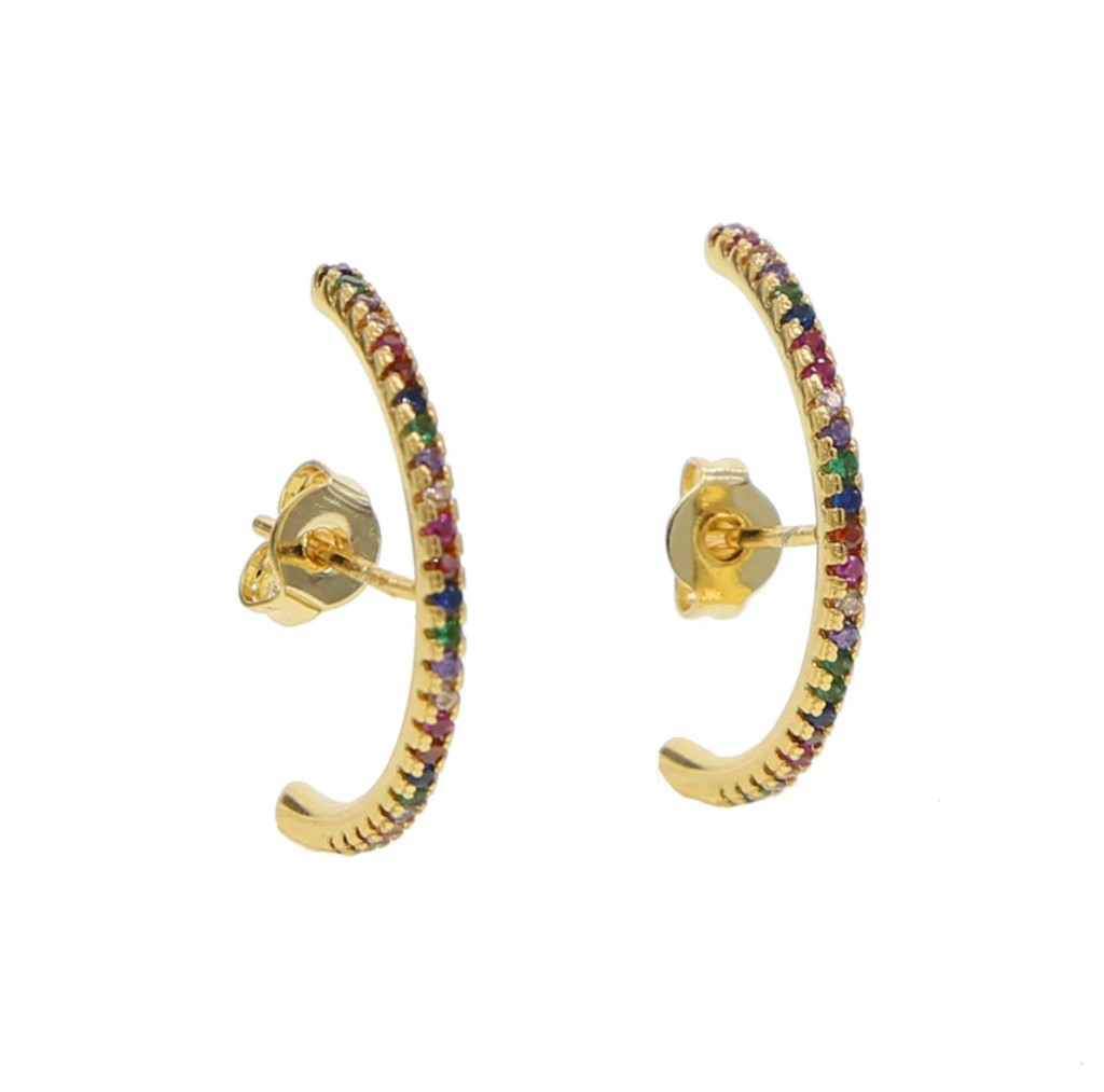 Cubic Zirconia Slim Pavé Domed Statement Earring