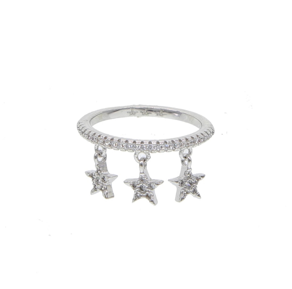 Pavé Cubic Zirconia Ring with Dangling Stars