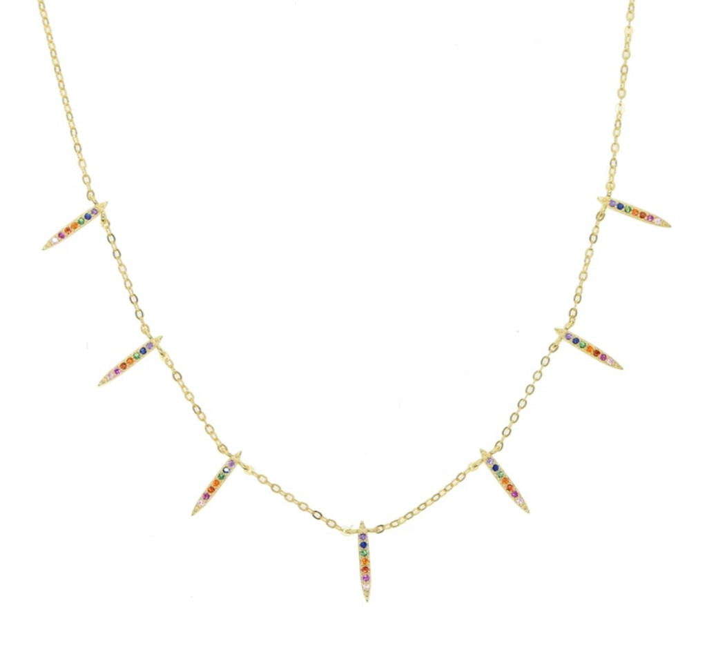 Gold Vermeil Multicolored Cubic Zirconia Vertical Bars Necklace