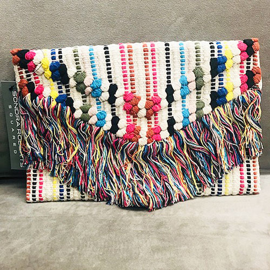 Multi-Colored Boho Woven Tassel Clutch