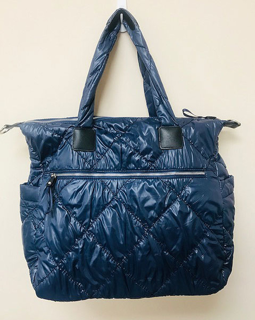 Sondra Roberts Navy Quilted Nylon Puffer Tote