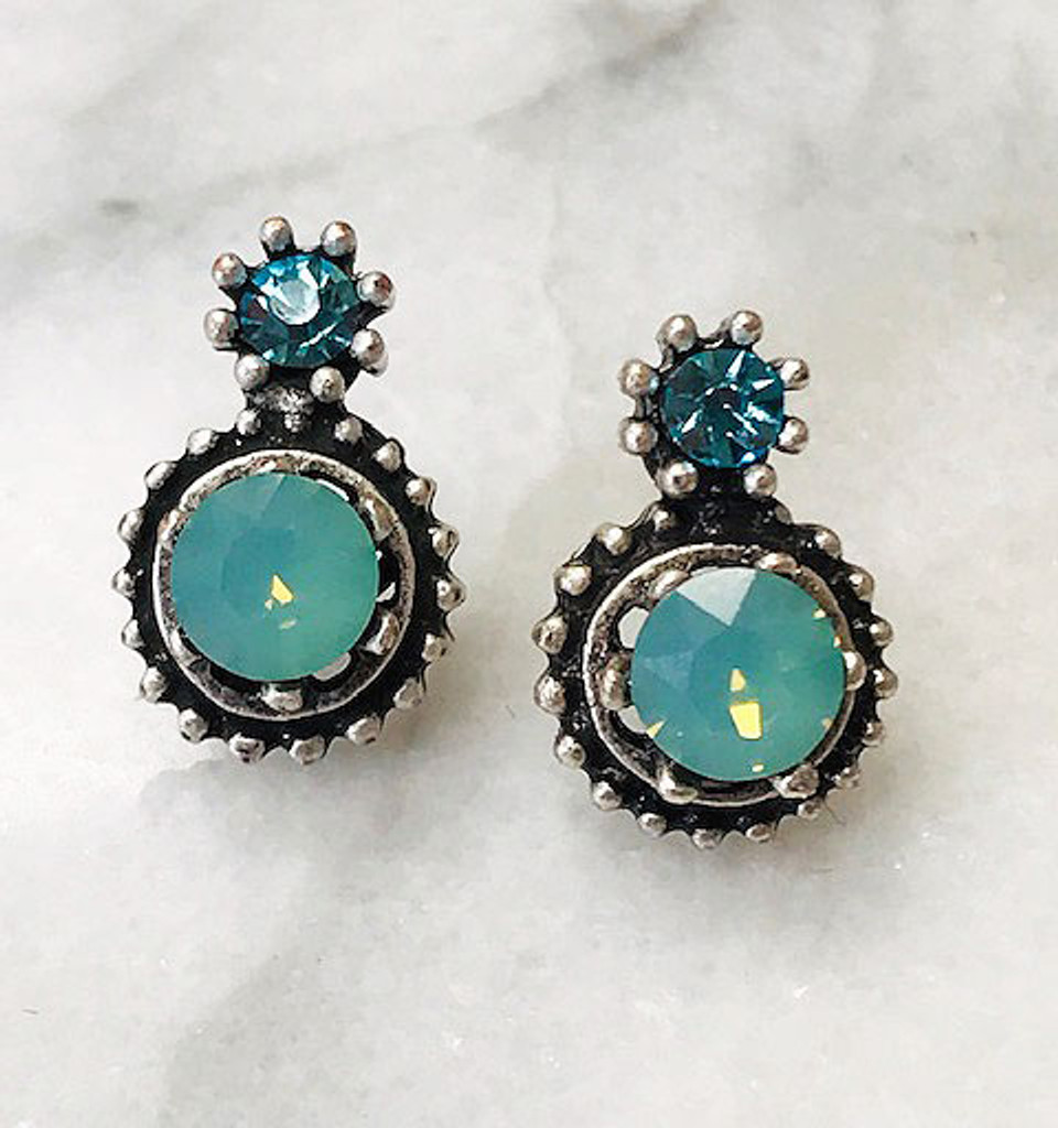 Demure Double Crystal Post Earrings