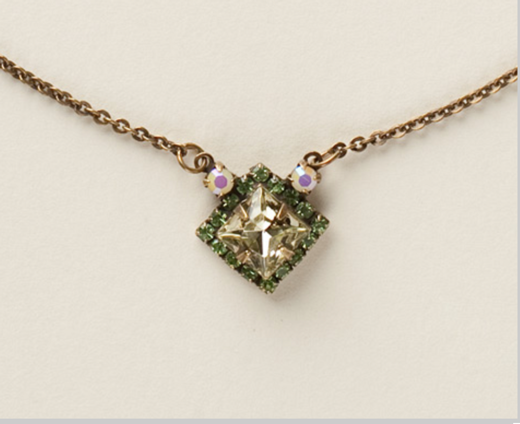 Sorrelli Jonquil and Erinite Square Crystal Pendant Necklace