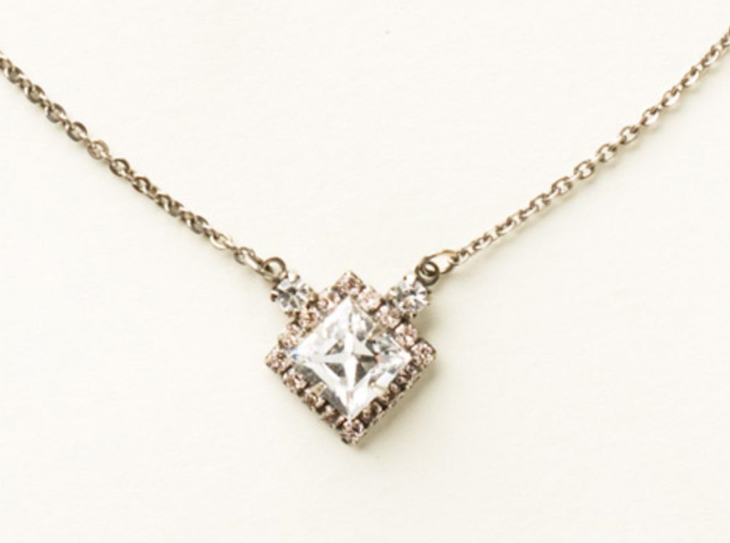 Sorrelli Square Clear Crystal With Soft Pink Pendant Necklace