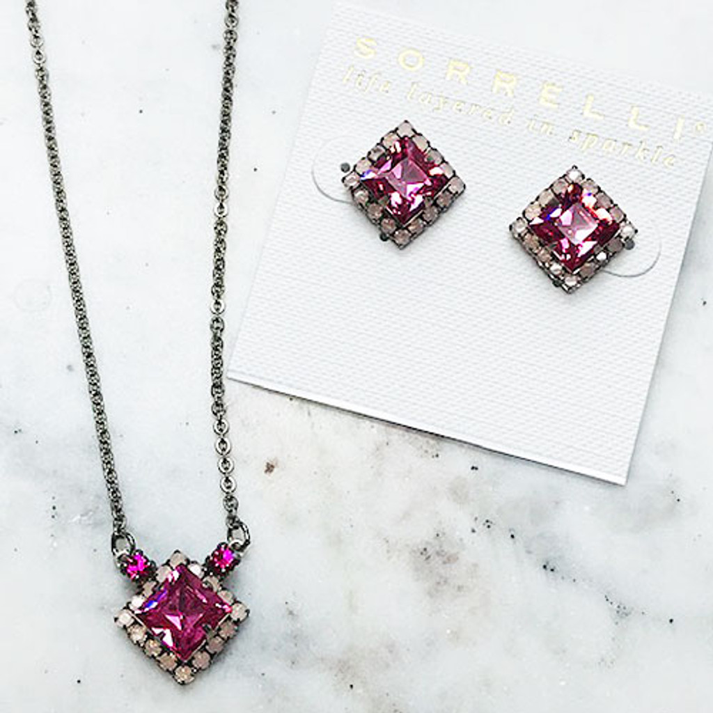 Sorrelli Pink Square Crystal Pendant Necklace