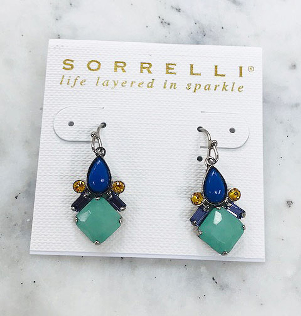 Sorrelli Royal Blue and Mint Drop Earrings