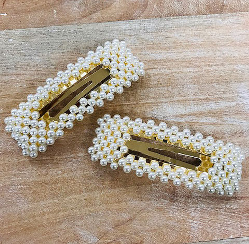 Set of Two Larger Rectangular Pearl Peek-a-Boo Hair Clip