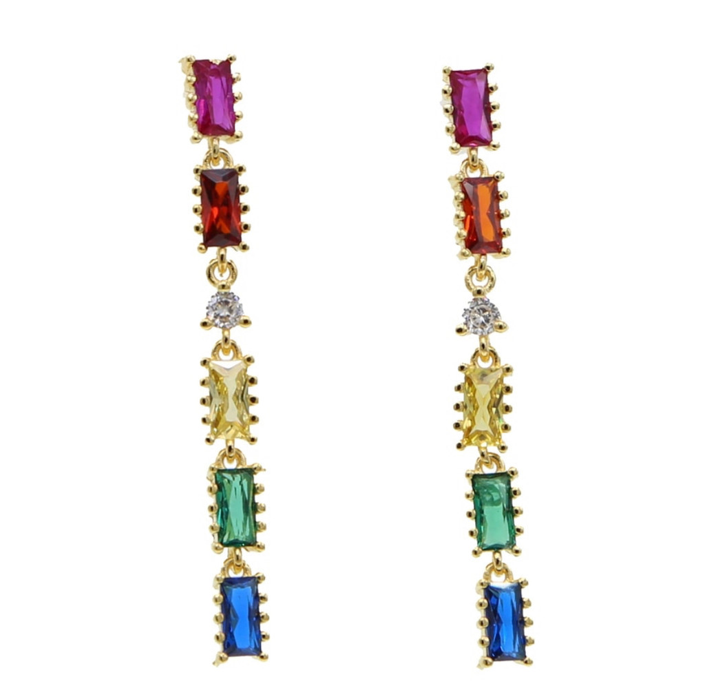 Colored Rectangular Crystal Linked Earrings