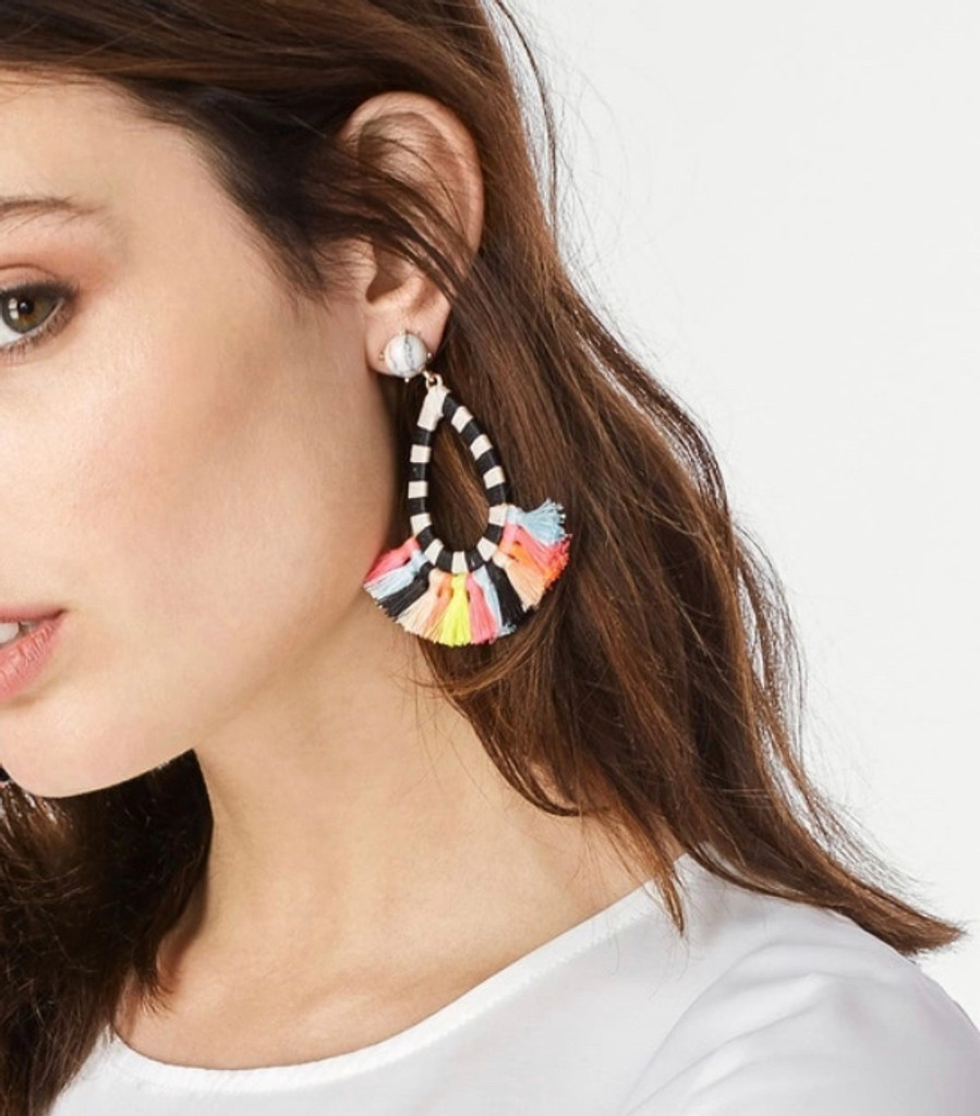 Multi-colored Tassel/Striped Hoop Earring