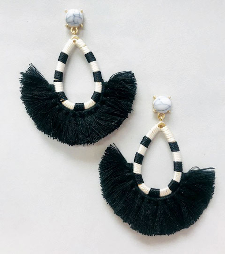Black Tassel/Striped Hoop Earring