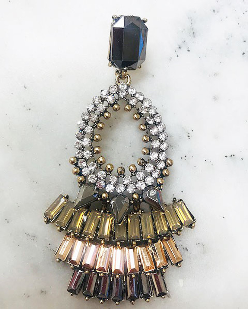 """""""Make an Entrance"""" Luxury Neutral Crystal Statement Earring"""