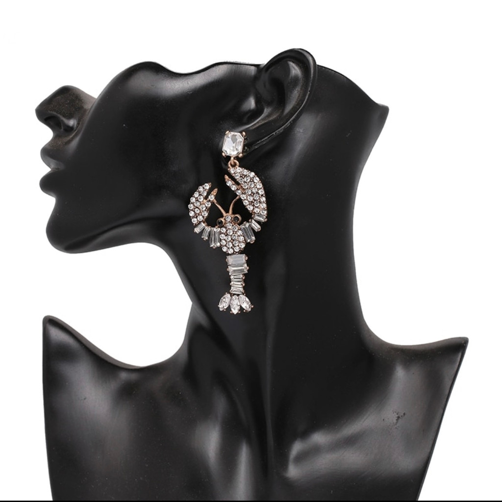 Clear Crystal Lobster Statement Earring