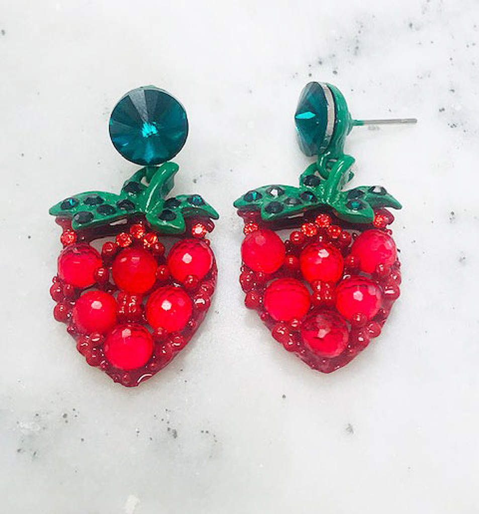 Crystal Strawberry Dangles